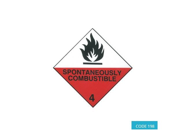 Class 4.2 (Spontaneous Combustion) Hazard Labels (250 mm x 250 mm) - CODE 198