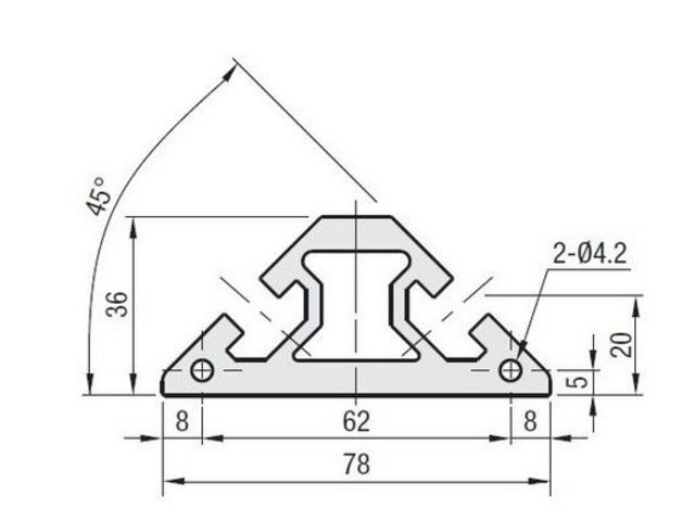 Triangular aluminium profile 40x40 – 8mm slot   Contact SYSTEAL