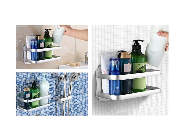 Wall Mounted Aluminium Bathroom Shelf   No Drilling   L. 30 Cm   Product  Presented