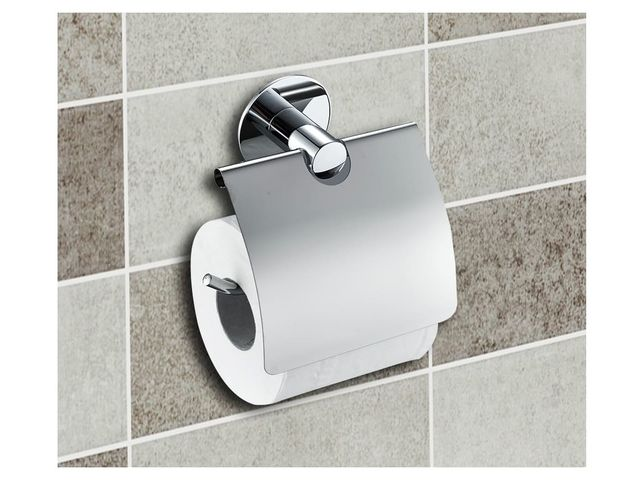 Wall mounted toilet paper holder with flap no drilling - Devidoir papier toilette ...