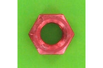 Nuts : Hex Nuts - Hex Nut, Hu, 0.8D - Hex Nut, Hu, Aluminium, DIN 934 - Blister pack of 5 Hex Nuts, P40 OA, Red
