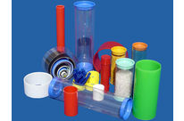 Plastic tube with plastic stopper , container